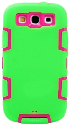 Mylife Bright Lime Green And Hot Pink - Classic Robot Armor Series (3 Piece Neo Hybrid Flexi Case + Urban Body Armor Glove) Case For Samsung Galaxy S3 Gt-I9300 And Gt-I9305 Touch Phone (Thick Silicone Outer Gel + Tough Rubberized Internal Shell)