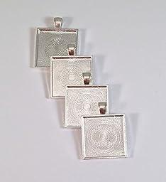 50 Deannassupplyshop Square Pendant Trays - Silver - 1 Inch - 25mm - Pendant Blanks Cameo Bezel Settings Photo Jewelry - Custom Jewelry Making - 1
