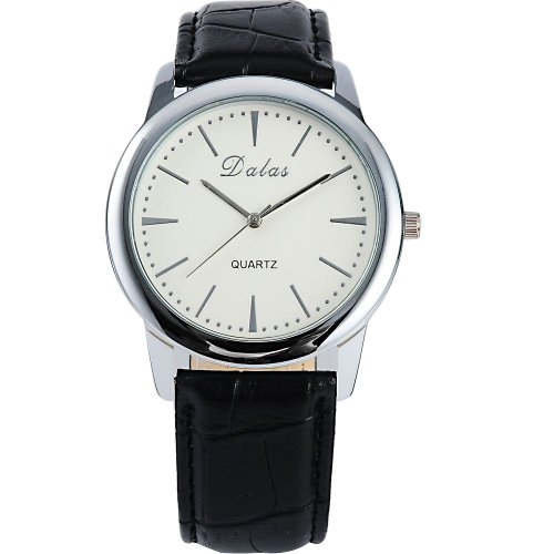 AMPM24 Women Lady Mens Luxury Black Leather Sport White Dial Quartz Wrist Watch