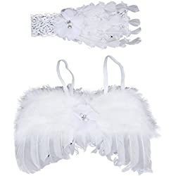 Jastore® Photo Prop Outfit Baby Girl Angel Feather Wing Costume with Headband (A)