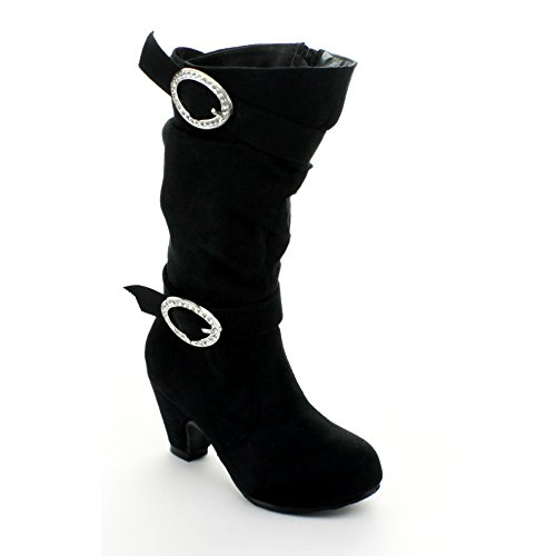 Jelly Beans Valencia Kid'S Girls Chunky Heel Knee High Boots, Color:Black, Size:9