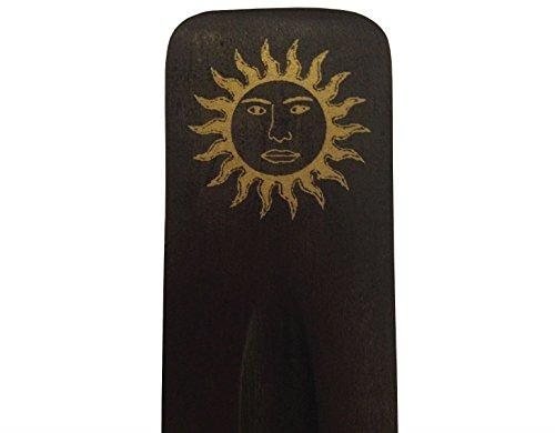 Madera de color negro y dorado Sun equipo de incienso con madera de fresno con soporte para incienso Hippie Boho Festival