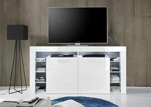 Dreams4Home Sideboard 'Tyries III',Schrank TV-Schrank Kommode TV-Unterschrank TV-Bank Wohnzimmer Hochglanz weiß, Beleuchtung:ohne Beleuchtung;Ausführung:ohne Glas-TV-Bühne