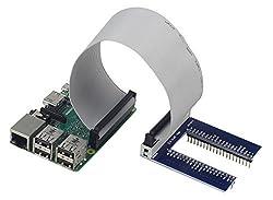 UCTRONICS Assembled U Type Plus GPIO Expansion Board + 20cm FC40 40pin Flat Ribbon Cable for Raspberry Pi Model B+, 2 model B, Raspberry Pi 3