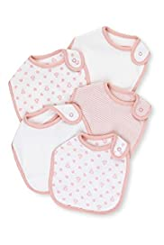5 Pack Assorted Pure Cotton Bibs