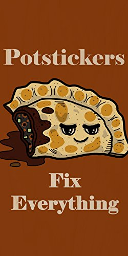 """""""Potstickers Fix Everything"""" Food Humor Cartoon - Plywood Wood Print Poster Wall Art front-765887"""