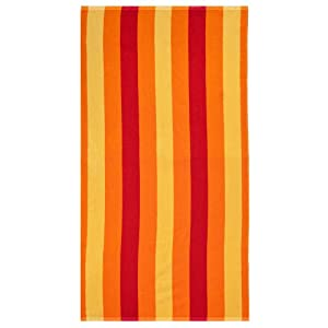 Cabana Stripe Orange Red Yellow by Cotton Craft - Terry Jacquard Beach Towel 30x60 - 400 grams 100% Pure Ringspun Cotton - Brilliant intense vibrant colors - Highly absorbent easy care machine wash - Use for picnic poolside or as a colorful bath towel
