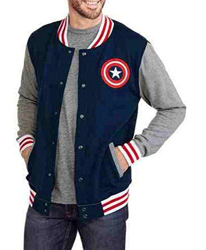 Marvel Captain America Graphic Fleece Varsity Jacket (Medium 38/40) (Jacket Captain America compare prices)