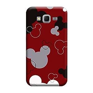 Desicase Samsung Core Prime G360 Mickey Head 3D Matte Finishing Printed Designer Hard Back Case Cover (Red)