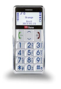 TTfone Neptune - Senior Basic Mobile Phone with Crystal White Large easy to read Display, Big Buttons, Torch, FM Radio and SOS Emergency Button - SILVER from TTfone