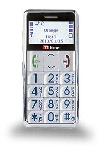 TTfone Neptune TT099 SILVER/ARGENT - téléphone portable haut de gamme de base avec Crystal Large White affichage facile à lire, grosses touches, torche, radio FM et touche d'urgence SOS - MAINTENANT DISPONIBLE AVEC UN MANUEL FACILE A UTILISER EN GRAND CARACTERE