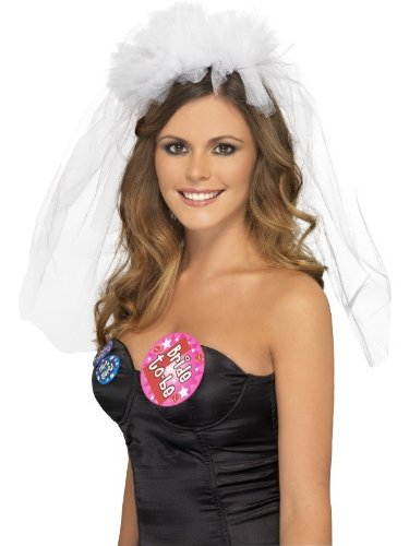 Smiffy's Hen Night Veil on Headband (White)