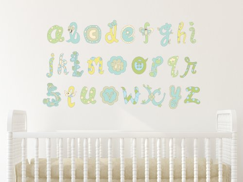 Alphabet Fabric Wall Decals, Script Alphabet In Blue And Green, Non-Toxic Abc Decals, 3 Color Options Available