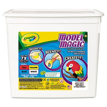 Model Magic Modeling Compound, 8 oz each Blue/Red/White/Yellow, 2lbs by Crayola. (Catalog Category: Paper, Pens & Desk Supplies / Art & Drafting)