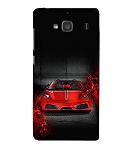 iFasho Stylish RED Car Back Case Cover for Redmi 2S