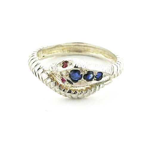 Sterling Silver Ladies Blue Sapphire  &  Ruby Snake Ring - Size R - Finger Sizes L to S Available