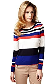 Per Una Cotton Rich Striped Speckled Knitted Top