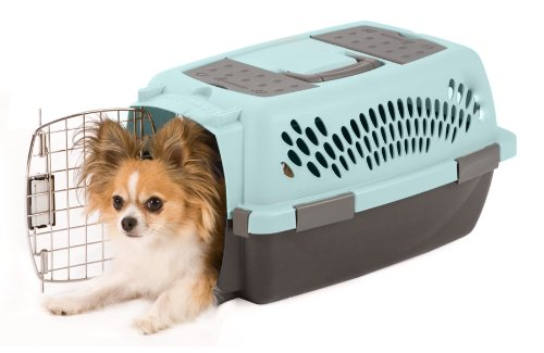 Petmate 21087 Pet Porter Fashion Dog Crate, For Pets Up to 10 Pounds, Blue Air/Coffee Grounds Brown