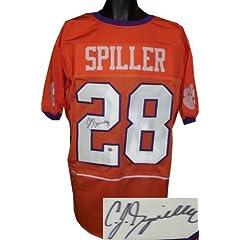 C.J. Spiller Autographed Hand Signed Clemson Tigers Custom Orange Jersey XL- Spiller...