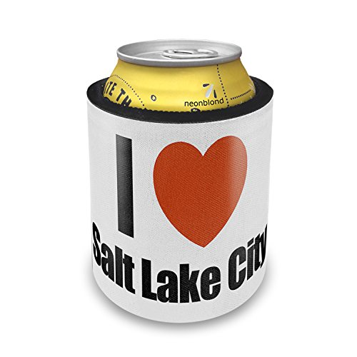 Slap Can Koozie I Love salt lake city region: Utah, United States Insulator Cooler - Neonblond (Party City Utah)
