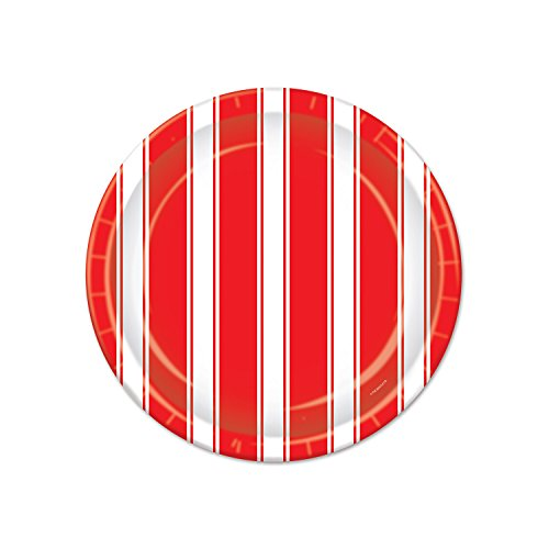 Beistle Stripes Plates, 7-Inch, Red/White
