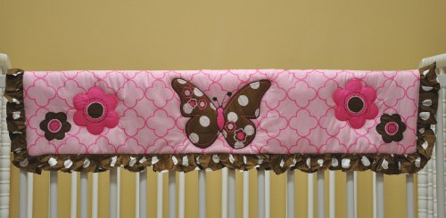 Butterflies Pink and Chocolate Crib Rail Protector - 1