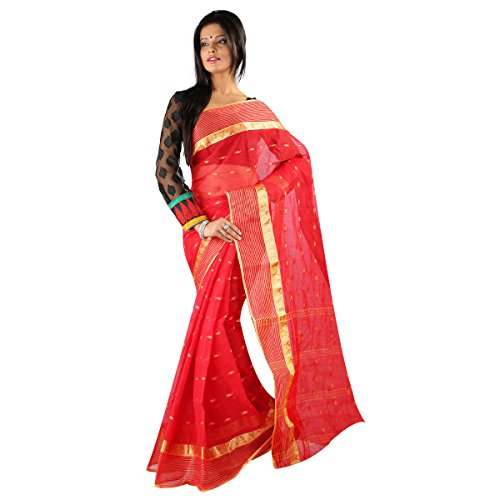 Hawai Beautiful Red Cotton Tant Saree For Women