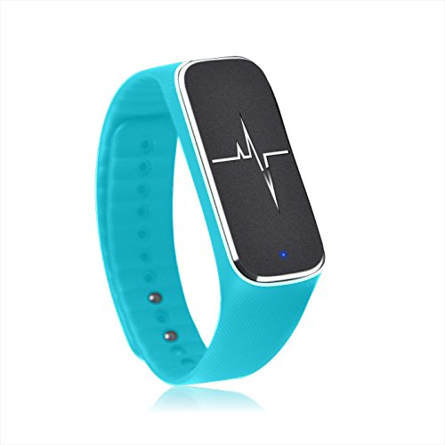 Padgene Smart Health Partner, Bluetooth Sport Tracker Bracelet With Step motion Meter, Sleep, Mood, Heart Rate, Breath Rate, Fatigue State, Blood Pressure Functions For IOS and Android Devices, Blue
