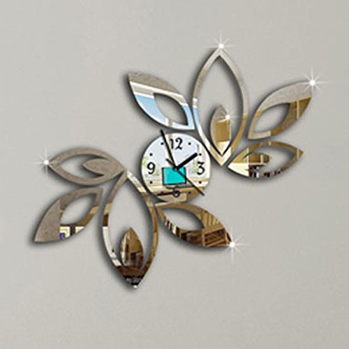 Lotus Flower Wall Clock 3D Mirror Wall Decal Wall Sticker Home Decoration (Silver)