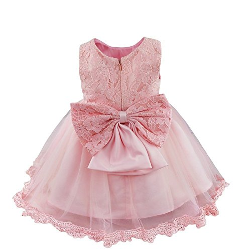 FEESHOW Baby Girl Lace Flower Princess Wedding Party Pageant Birthday Tutu Dress Size 9-12 Months Pink