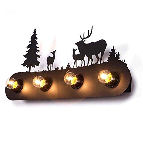 BAYCHEER-Tier-Kartoon-Wandleuchte-Wandleuchte-E27-4-Flammige-Perfekt-fuer-Kinderzimmer-Schlafzimmer-Flur-Innenraum-im-Nordischen-Stil-Windmhle-Wald