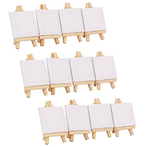 Tosnail-3-x-3-Mini-Canvas-3-x-5-Easel-Set-Painting-Craft-Drawing-Art-Decoration-12-pcs