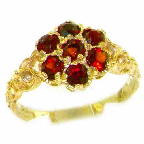 Luxury Ladies Solid 14K Yellow Gold Natural Garnet Victorian Daisy Ring - Size 9.25 - Finger Sizes 5 to 12 Available - Perfect Gift for Birthday, Christmas, Valentines Day, Mothers Day, Mom, Mother, Grandmother, Daughter, Graduation, Bridesmaid.
