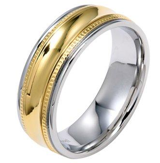 8MM Polished Stainless Steel Men Wedding Band with Gold Plated Center and Milgrain Edges