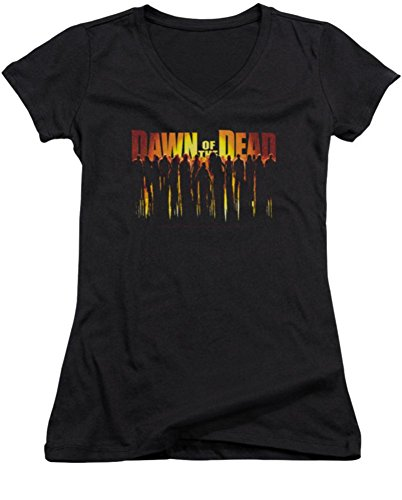 Dawn Of The Dead Walking Dead Ladies Junior Fit V-Neck T-Shirt