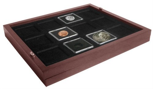 Coin-Tray-for-12-2x2-Coin-Holders-Tetra-fits-in-Mahogany-Wood-Coin-Display-Case
