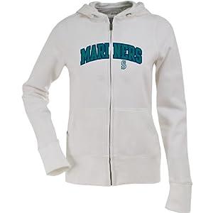 Seattle Mariners Applique Ladies Zip Front Hoody Sweatshirt (White) by Antigua