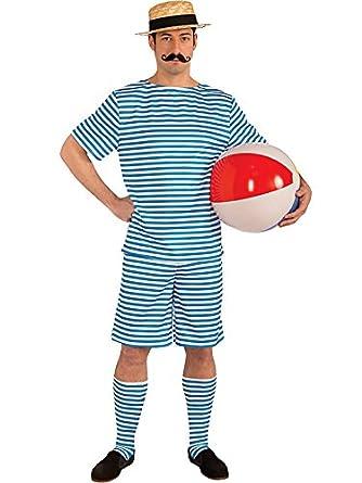 Alexanders Costumes Bathing Suit Male, Blue/White, Medium