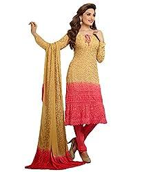 Fstore Cream and rani Karachi work semi stitched salwar suit dress material