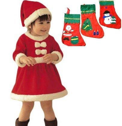 ベビー サンタ コスプレ クリスマス 子供 衣装 クリスマスソックス クリスマス靴下 80cm 90cm 100cm 女の子 TY-XMAS-CHLD2 (80)