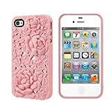 Pink 3D Sculpture Design Blossom Rose Flower Hard Plastic Cover Case for iPhone 4 4S 4G