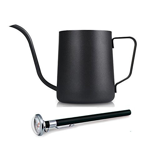 350ml / 12Oz Stainless Steel Pour Over Drip Kettle Long Narrow Spout Black Coffee Pot with a Thermometer (Kettle Spout compare prices)