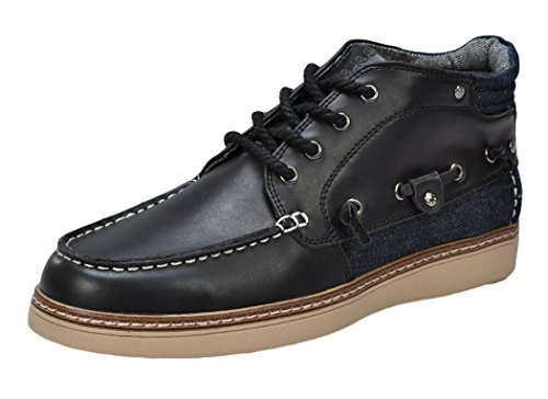 Serene Christmas Mens Black Leather Lace Up High Top Deck Boat Shoes Fashion Sneakers - 10 M US