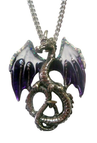 Mystical Purple and White Dragon Pendant Necklace Pewter Fashion Jewelry