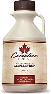 CANADIAN FINEST Maple Syrup ★ 100% Pure Certified Organic - #1 Rated Maple Syrup on Amazon - 16.9 oz - Grade B Dark Amber (B is the Best!) - Natural, Rich, Deep-Bodied Flavour & Loaded With Minerals, Vitamins and 54 Antioxidants - Support Eco-Friendly Family Farms [FREE Bottle Guarantee]