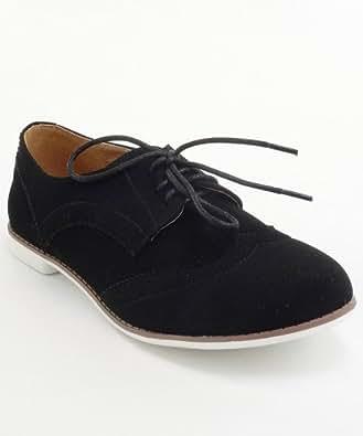 Qupid Strip-108 Vegan Lace Up Lace Detail Oxford Shoes (6, Black)
