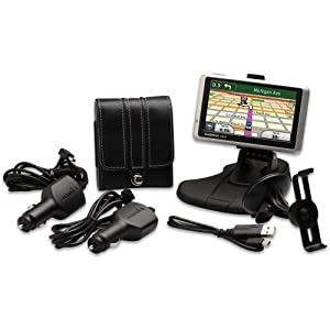 """Garmin nuvi 1300LM 4.3"""" Portable GPS Bundle with Case, 2 Vehicle Mounts, and 2 Vehicle Cables"""