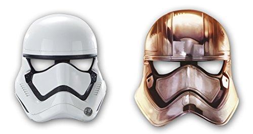 """6 maschere in carta * STAR WARS VII * Per bambini e feste a tema // per costume da bambini, Compleanni, dal Film """"Il risveglio della forza"""", motivo: Darth Vader"""