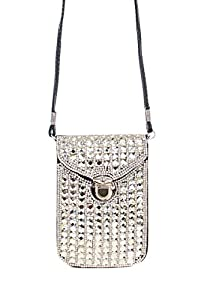 L.COLETTE Rhinestones Smartphone Clutch Two Compartment Cross Over Bag 14658 (Black)
