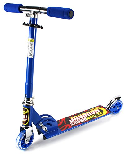 Xtreme Action Wheels Two Wheeled Metal Folding Children'S Toy Kick Scooter W/ Adjustable Handle Height, Rear Fender Brake (Blue)